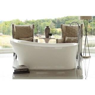 Signature Bath Calm Acrylic 67-inch x 28.5-inch x 28-inch Freestanding Bathtub