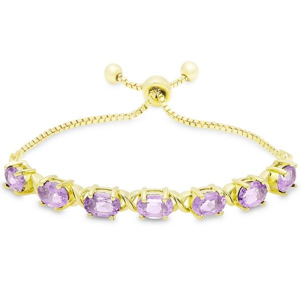 Dolce Giavonna Gold Overlay Oval Amethyst XO Link Adjustable Slider Bracelet 19324719