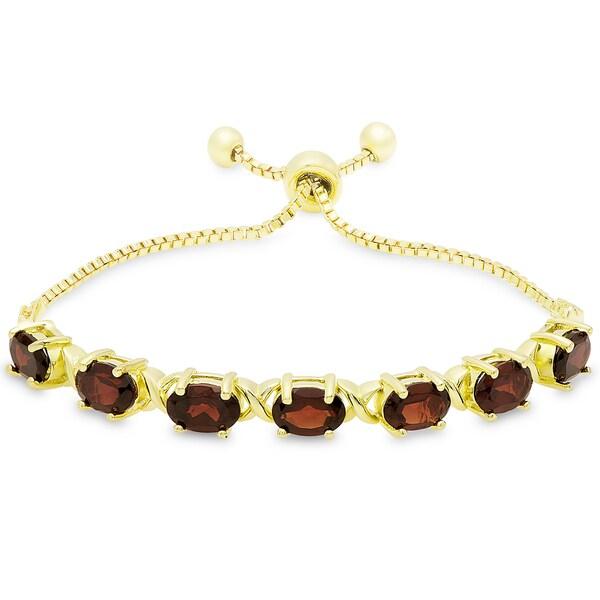 Dolce Giavonna Gold Overlay Oval Garnet XO Link Adjustable Slider Bracelet 19324720