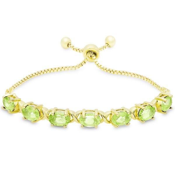 Dolce Giavonna Gold Overlay Oval Peridot XO Link Adjustable Slider Bracelet 19324741