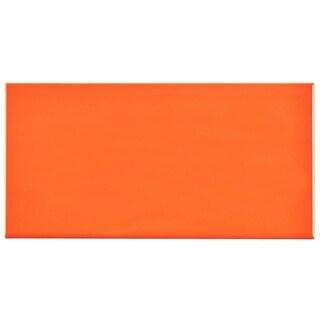 SomerTile 3x6-inch Malda Subway Glossy Tangerine Orange Ceramic Wall Tile (Case of 136)