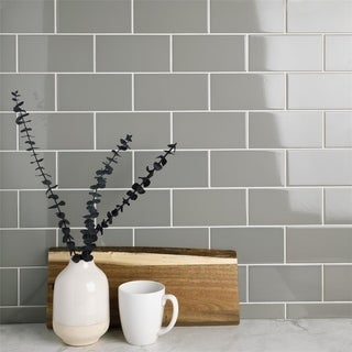 SomerTile 3x6-inch Malda Subway Glossy Warm Grey Ceramic Wall Tile (Case of 136)