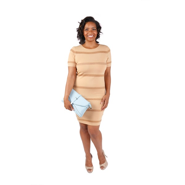 Hadari Women's Plus Size Nude Bodycon Dress