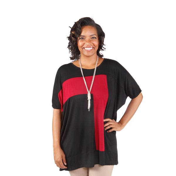 Hadari Women's Plus Size Contrast Tunic (One Size)
