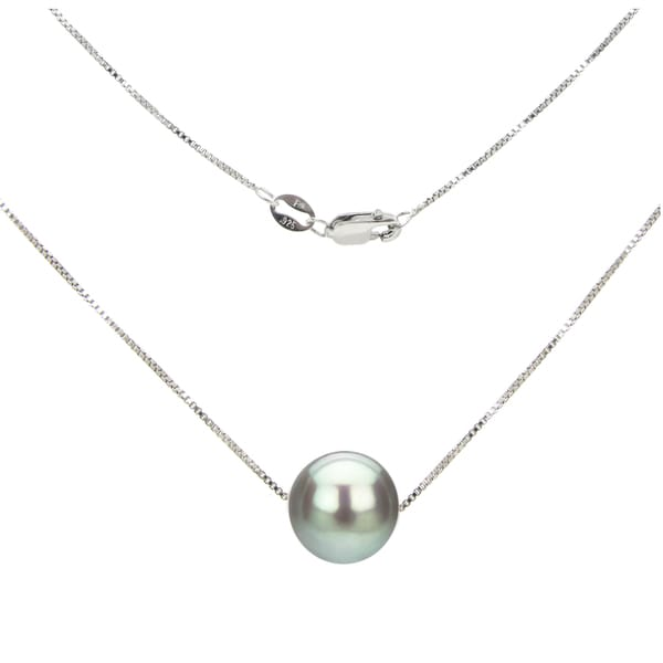 DaVonna Sterling Silver Box Chain with Grey Round Freshwater Pearl Pendant Necklace (11-12mm)
