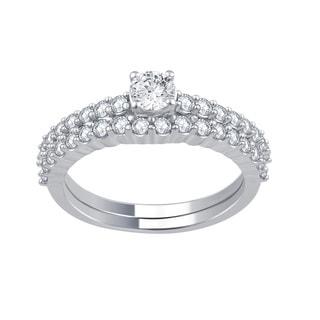Divina 14k White Gold 1ct TDW Diamond IGL Certified Bridal Set (H-I, I2-I3)