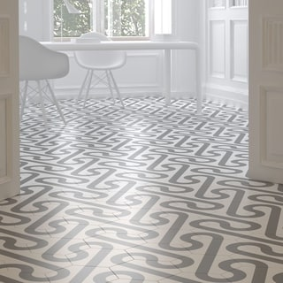 SomerTile 9.875x11.375-inch Rodar White and Taupe Grey Porcelain Floor and Wall Tile (Case of 18)