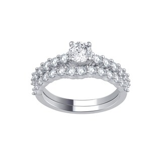 Divina 14k White Gold 1.5ct TDW IGL Certified Diamond Bridal Set (H-I, I2-I3)
