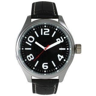 Olivia Pratt Men's Black Leather/Stainless-steel Watch