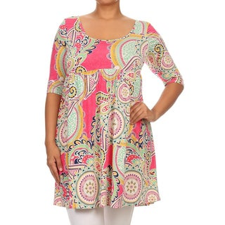 MOA Collection Women's Multicolored Polyester/Spandex Plus-size Ornate Dress