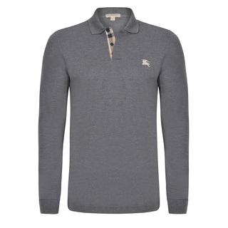 Burberry Men's Long Sleeve Grey Polo Shirt