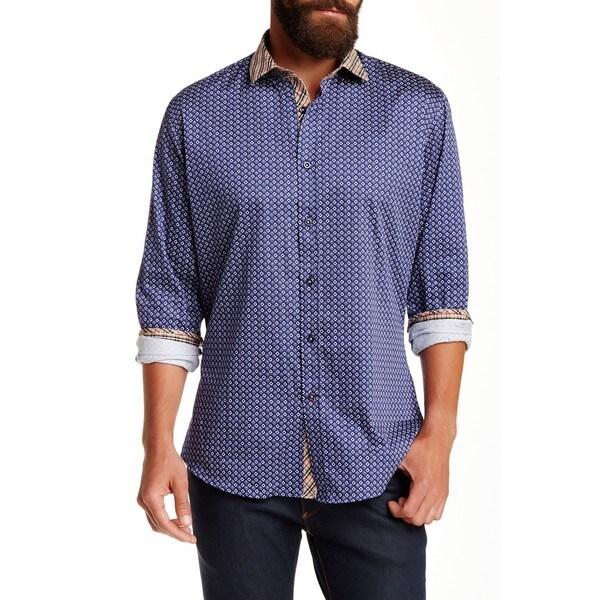 Banana Lemon Men's Brian Navy Blue Cotton Long-sleeve Dotted Shirt