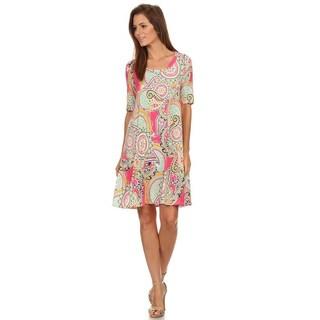 MOA Collection Women's Multicolor Ornate Short Dress