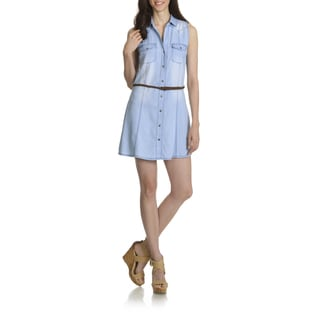 Ashley Women's Blue Cotton/Viscose Junior Denim Belted Shirt Dress