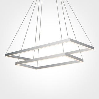 Atria Duo Silver Modern Two-tier 29-inch LED Adjustable Suspension Fixture