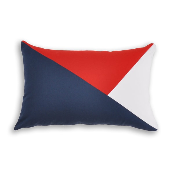 Red, White, Blue Cotton Tri-pieced Throw Pillow