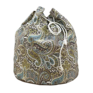 """Paisley Chocolate 20"""""""" Round Laundry Bag with Grommets and Tie Closure"""