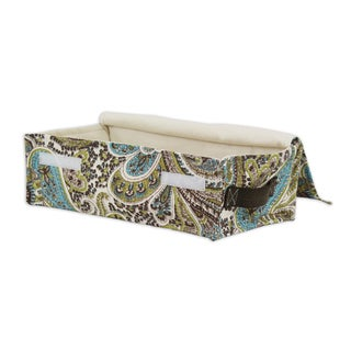 """Paisley Chocolate Soft Sided Storage Container 4""""""""h x12w x 6d with Brown Canvas Handle"""