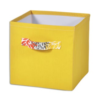 """Dyed Solid Yellow 11""""""""hx10.75"""""""" Storage Bin with Handle"""