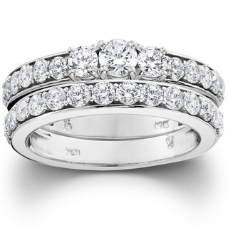 10k White Gold 2ct TDW 3-stone Diamond Engagement Wedding Ring Set (I-J, I2-I3)