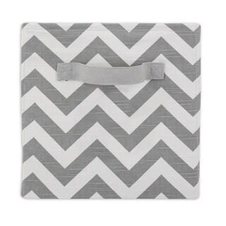 Zigzag Ash White/Grey Fabric 11-inch x 10.7-inch Storage Bin With Handle