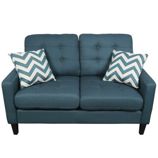 Porter Harlow Deep Teal Contemporary Modern Loveseat with 2 Woven Accent Pillows