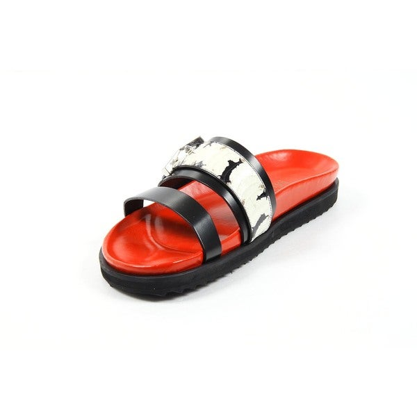 Alexander McQueen Women's Buckle Strap Red/ Black Sandals