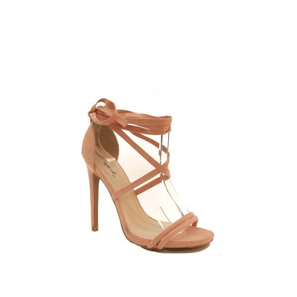 Hadari Women's Peach Open Toe Lace Up Stiletto Heel
