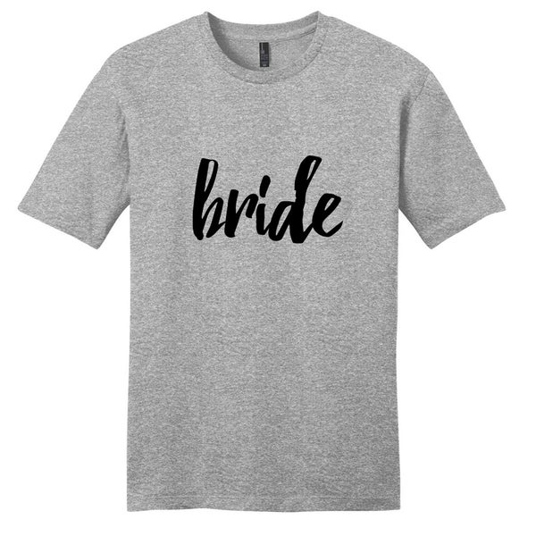 Sweetums Unisex Bride Wedding Grey Cotton T-shirt 19327492