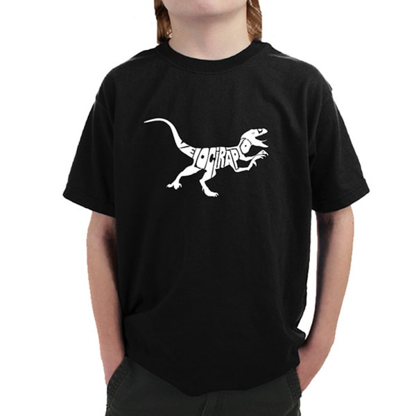 Boy's Velociraptor Black Cotton T-shirt