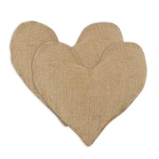 Burlap Natural Flocked Heart Pillow -Set of 2