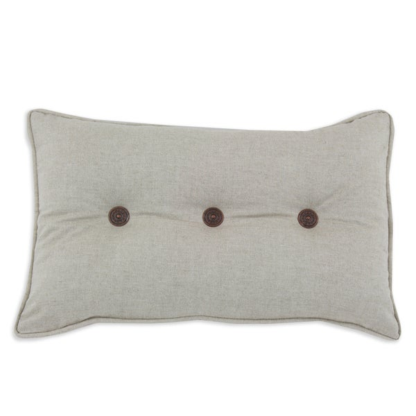 Linen Natural 12.5x19 Corded; Button Tufted Pillow