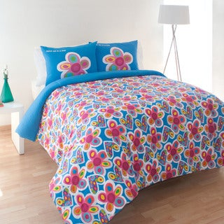 Agatha Ruiz de la Prada Hearts and Flowers Cotton 3-piece Comforter Set