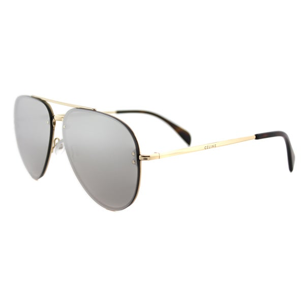 Jimmy Choo JC Andie J7Q Gold And Black Metal Round Sunglasses Silver Mirror Lens