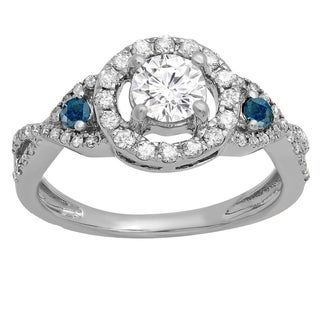 10K Gold 7/8 ct. TDW Round Blue & White Diamond Ladies 3 Stone Swirl Halo Vintage Bridal Engagement Ring (H-I & Blue, I1-I2)