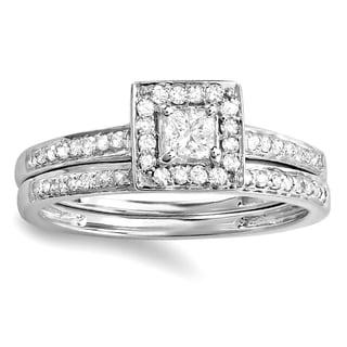 14k White Gold 1/2 TDW Princess & Round White Diamond Halo Engagement Ring Bridal Set (H-I, I1-I2)