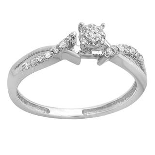 10k White Gold 1/6 TDW Round Diamond Crossover Split Shank Promise Ring (I-J, I2-I3)