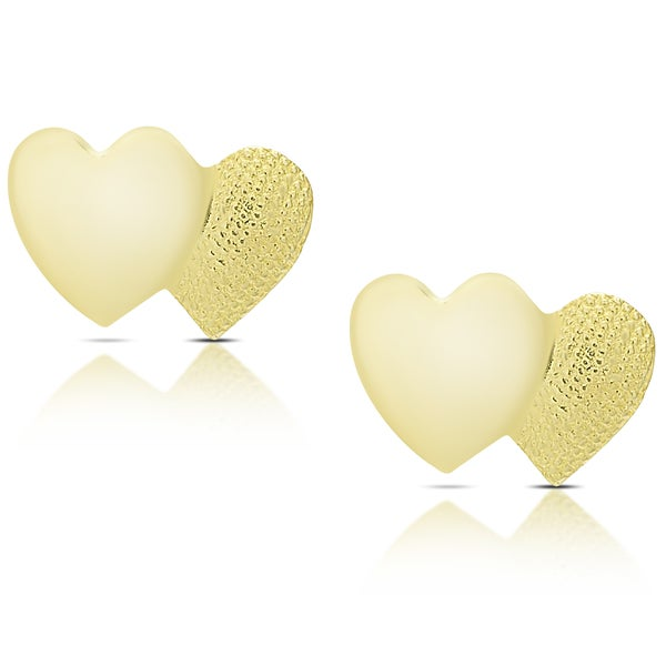 Molly and Emma 14K Gold Double Heart Stud Earrings