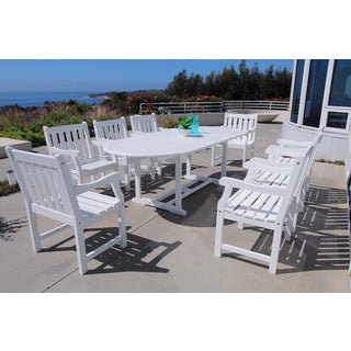 Bradley Eco-friendly 9-piece Outdoor White Hardwood Dining Set with Oval extension Table and Arm Chairs