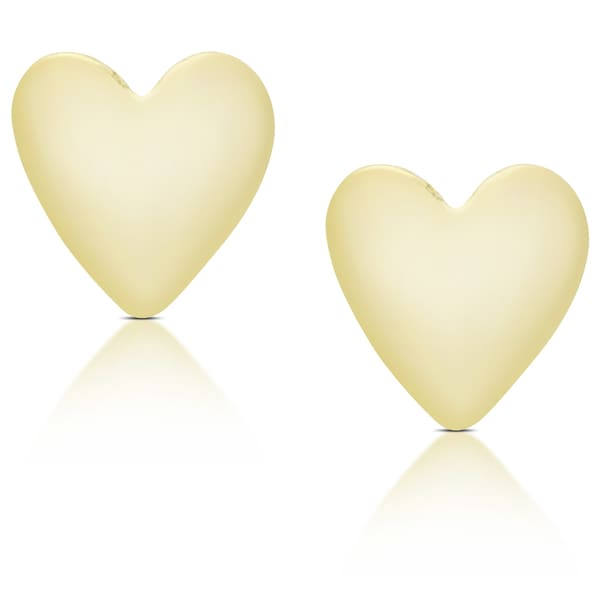 Molly and Emma 14K Gold Heart Stud Earrings