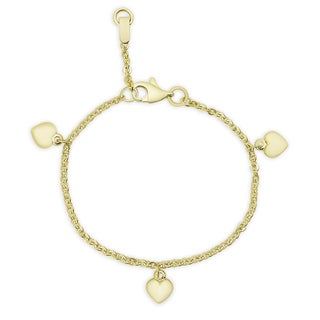 Molly and Emma 14k Gold Heart Charm Bracelet