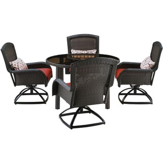 Hanover STRADN5PCSW-RED Strathmere Red Resin 5-piece Outdoor Swivel Dining Set with 48-inch Round Table