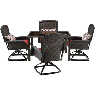 Hanover Strathmere Red Resin 5-piece Outdoor Swivel Dining Set with 48-inch Square Table