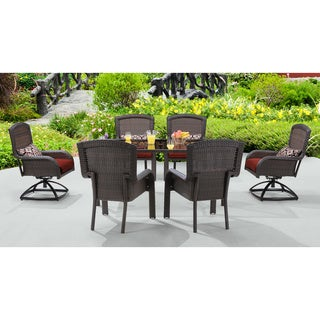 Hanover Strathmere Red Cushion Resin Wicker 7-piece Outdoor Dining Set