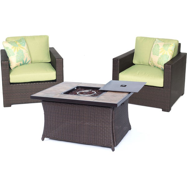 Hanover Outdoor Metropolitan Three-piece Chat Set with LP Gas Fire Pit Table in Avocado Green
