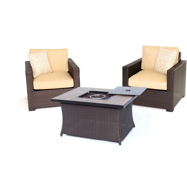 Hanover Outdoor Metropolitan Sahara Sand 3-piece Seating Set with LP Gas Fire Pit Table