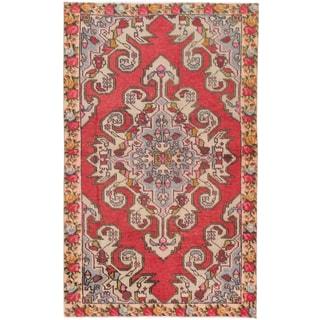 eCarpetGallery Anadol Red/Black Cotton/Wool Hand-knotted Vintage Rug (4'5 x 7'2)