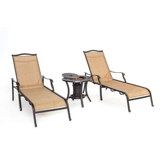 Hanover Monaco Tan/Brown Chaise Lounge Chair and Fire Urn Outdoor Set