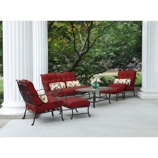 Hanover Oceana Red Steel Outdoor 6-piece Patio Set