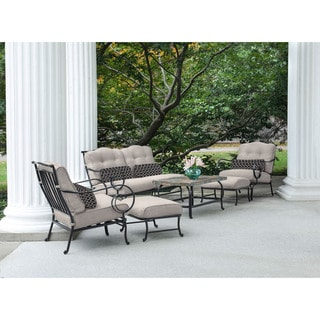 Hanover Outdoor Oceana 6-piece Patio Set in Silver Lining with a Stone-top Coffee Table